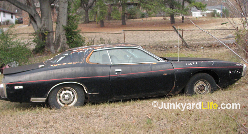junkyard life classic cars muscle cars barn finds hot rods and 1973 Dodge Daytona see the magnum wheel i love plete but in plete with a strange rear side marker light and missing engine designation emblems