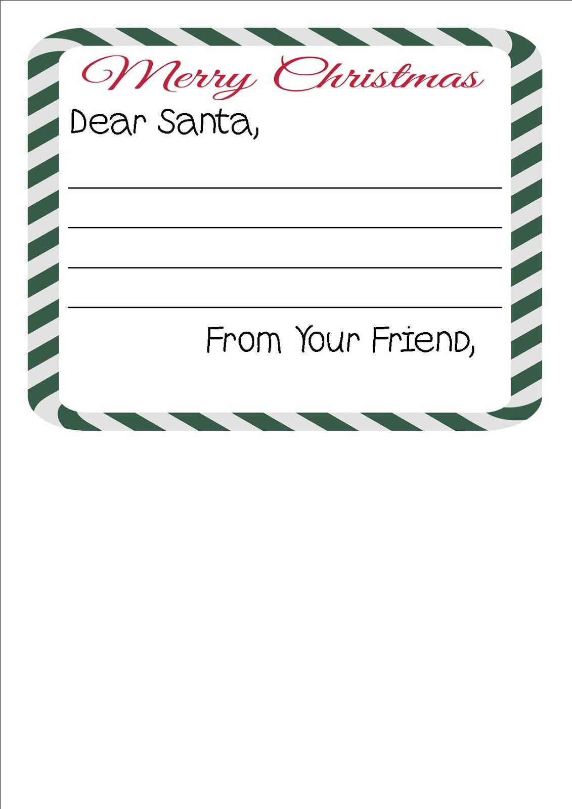 Free Printable Letter To Santa Writing Paper