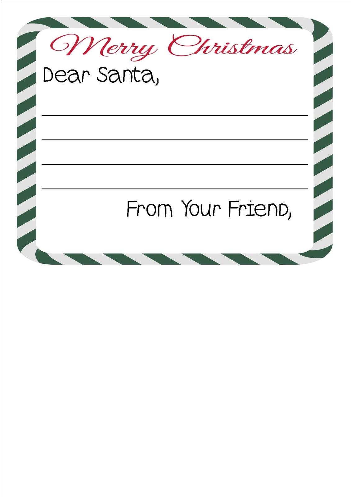 Free Printable Letter To Santa Writing Paper