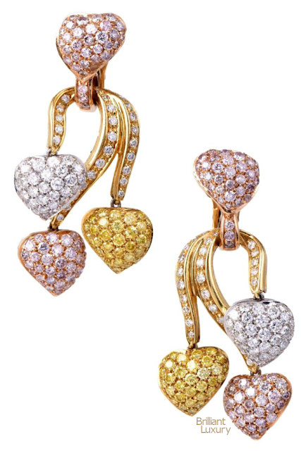 Brilliant Luxury♦Natural Fancy Pink Yellow & White Diamonds GIA Certified 18-K Gold Earrings