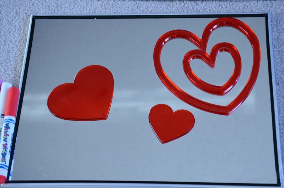 Valentine's Day invitation to create with hearts, markers, and a mirror from And Next Comes L