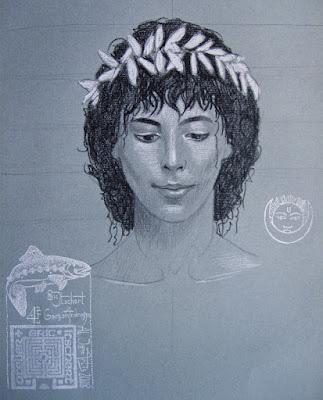 dessin,craie,graphite,androgyne,papier arches,garçon androgyne