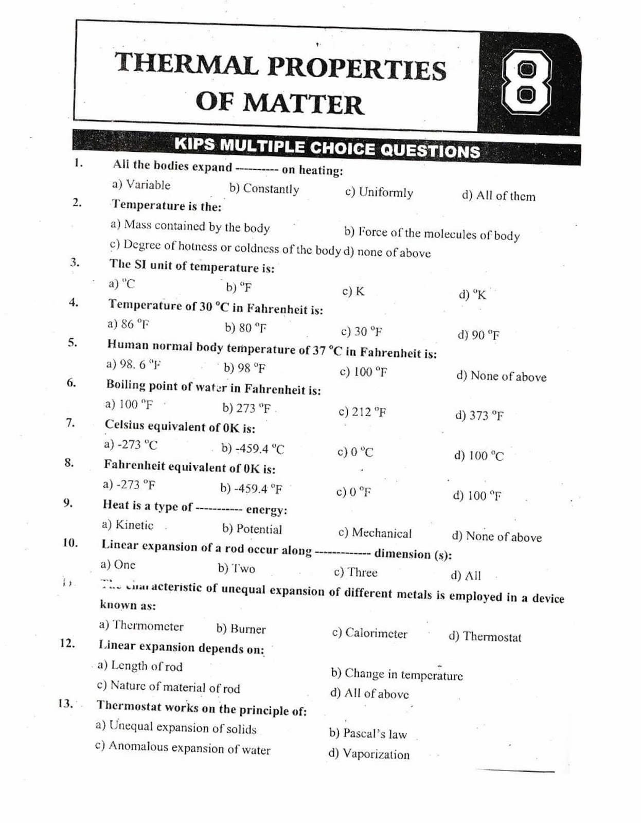 KIPS 9th Class Physics Notes For Chapter 8 With PDF