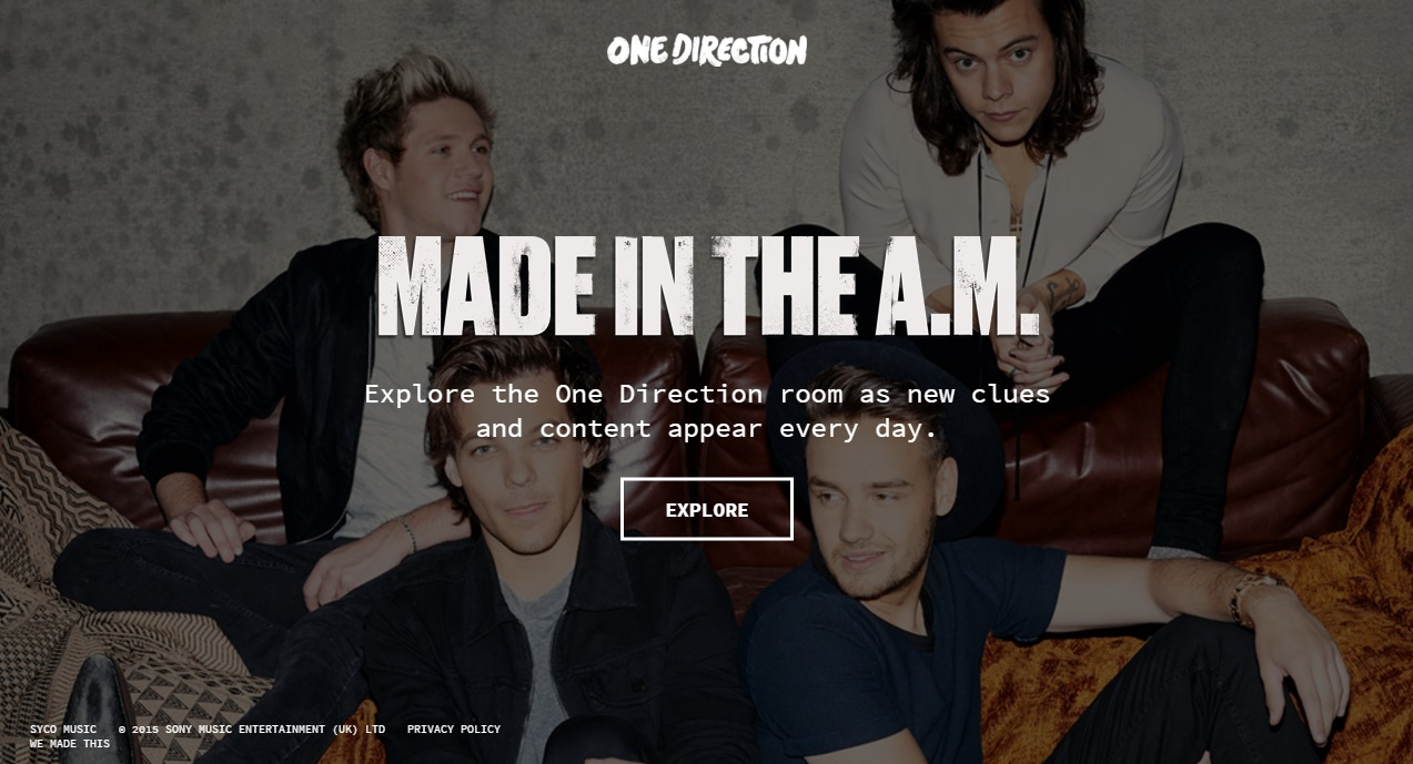 One Direction Made in the AM Microsite