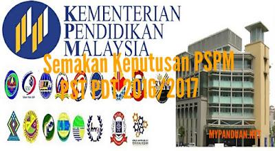 Semakan Keputusan PSPM PST PDT 2016/2017