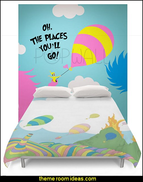 dr seuss bedding Wall Decals Wall Sticker - Dr seuss Characters, Oh the places you'll go