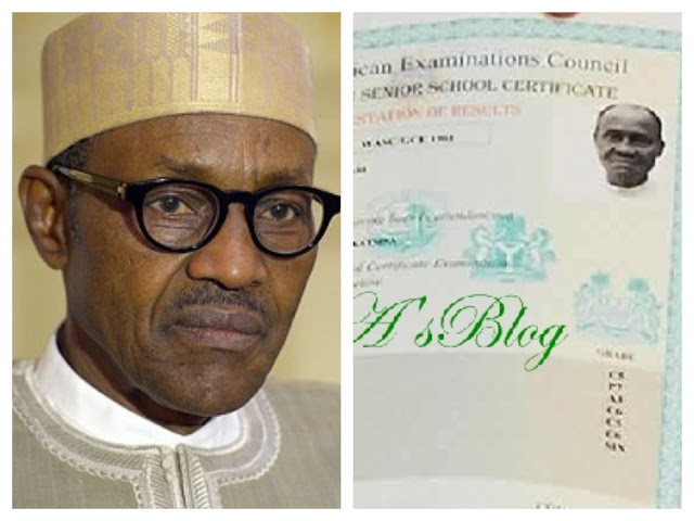What Buhari said while receiving his WAEC certificate