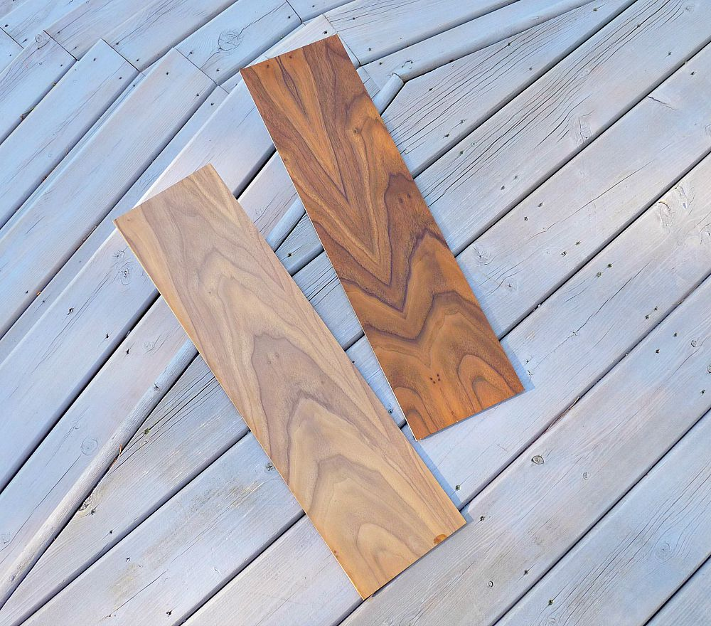 Walnut Plywood Before and After Danish Oil