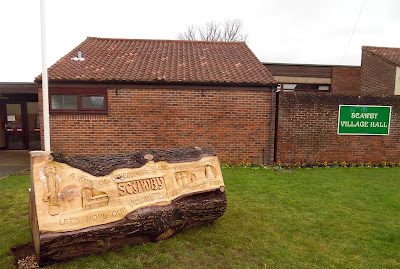 The new inscribed wooden totem outside Scawby Village Hall - a local talking point - February 2019