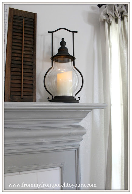 Farmhouse Fireplace-Faux Finish-Decor Steals Lantern-From My Front Porch To Yours