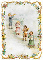 victorian vintage greeting printable image children music flowers