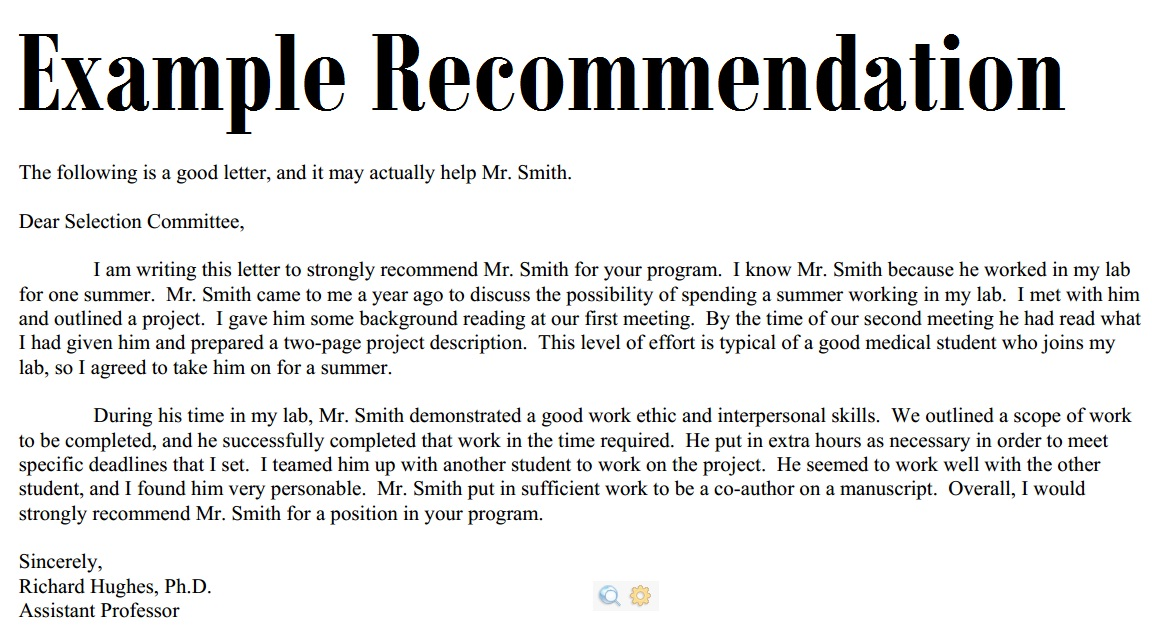 recommendation letter sample for students