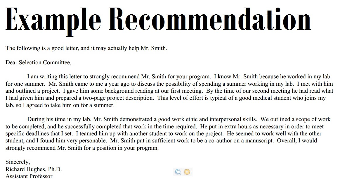 example of a good recommendation letter
