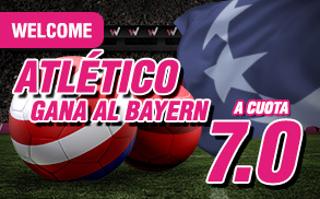 wanabet Atletico gana Bayern cuota 7 + 150 euros 28 septiembre