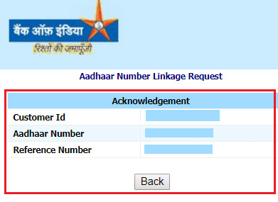 how to link aadhaar with bank of india bank account