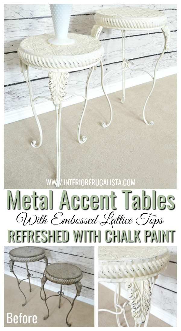 Metal Accent Table Makeover With Chalk Style Paint
