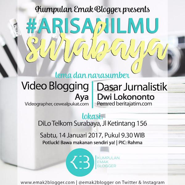 Arisan Ilmu KEB Surabaya: Belajar Jurnalistik untuk Blogging dan Nge-Vlog dengan Laptop