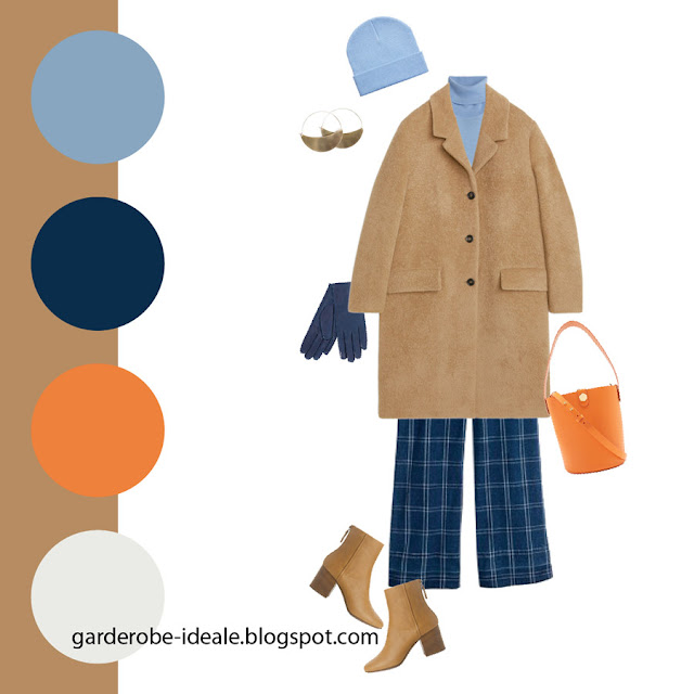Сочетание пальто цвета кэмел и синих брюк в клетку