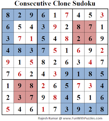 Consecutive Clone Sudoku (Daily Sudoku League #143) Solution