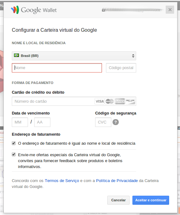 Configurar carteira virtual do google