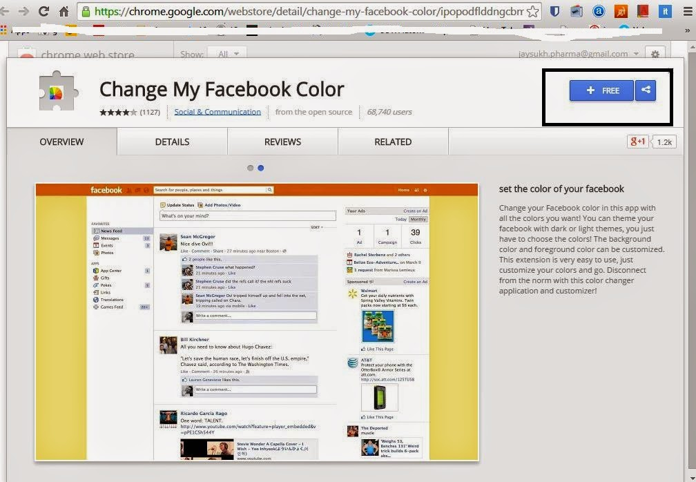 Open facebook color and theme change plugins