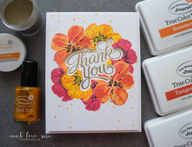 Colorful Poppy Flowers frame the golden heat embossed Thank You on this handmade stamped card.  Mutiple colors of hybrid fusion ink were layered to create the beautiful flowers.  Using Fun Stampers Journey Poppy Days Stamp Set, and Everyday Script Stamp and Die Set.