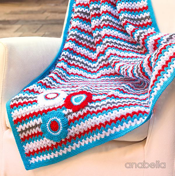 V-Stitch striped crochet baby blanket, Anabelia Craft Design