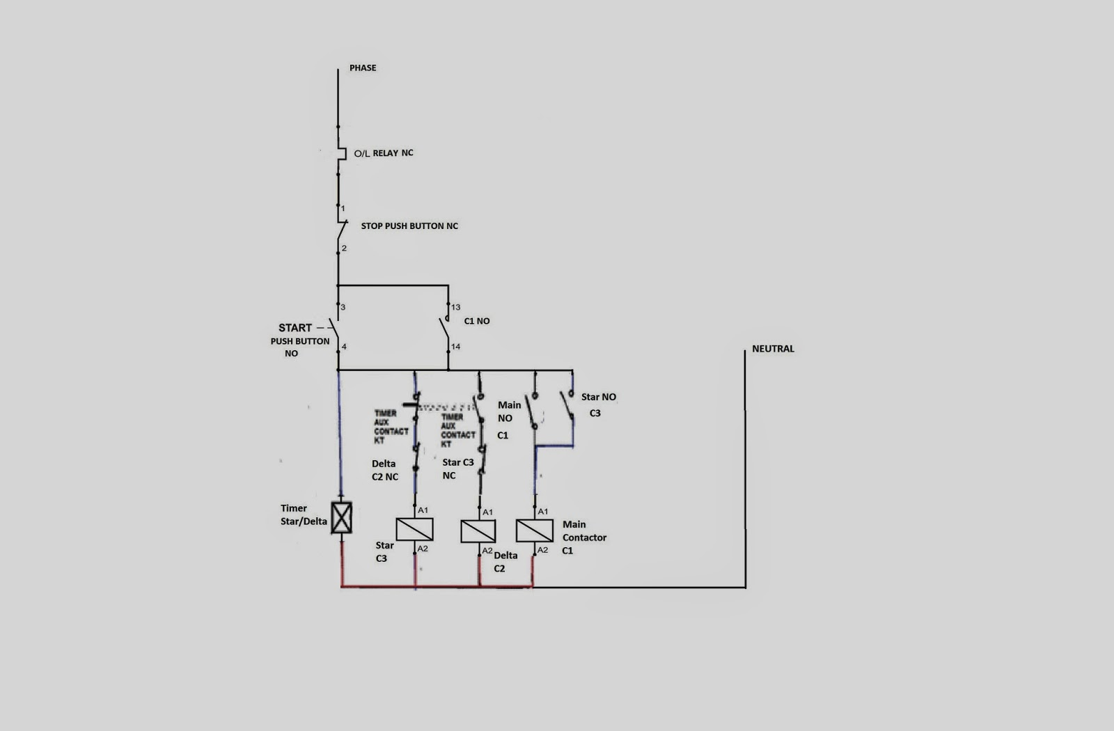 circuit diagram 3 phase star delta starter