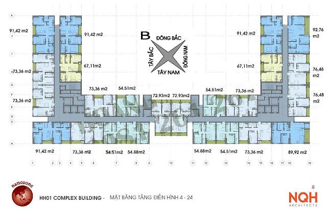 Sơ đồ thiết kế mặt bằng chung cư Anland Nam Cường