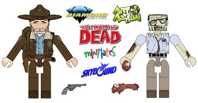 The Walking Dead Minimates Concept Art - Rick Grimes & Zombie Action Figures