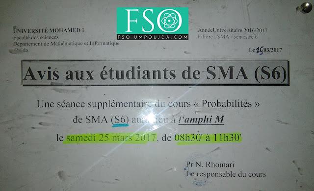 """SMA S6 : Séance supplémentaire du cours """"Probabilités"""""""