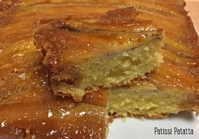 gâteau renversée à la banane, gâteau banane, recette de Gordon Ramsay, gâteau aux bananes caramélisées, caramel au du sirop d'érable, pâtisserie, moelleux banane,
