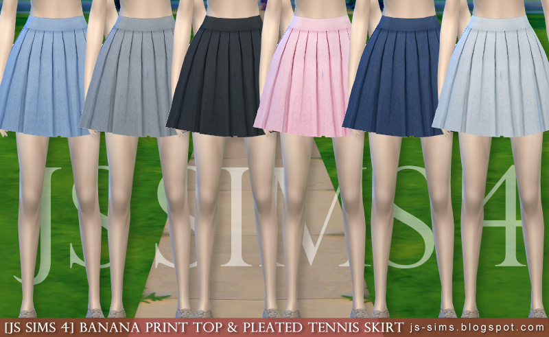 Js Sims 4 Banana Print Top Amp Pleated Tennis Skirt