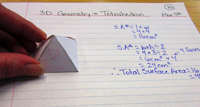 photo of square based pyramid surface area math journal entry @ Runde's Room