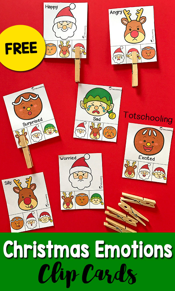 FREE printable Emotions activity with a Christmas theme! Great for toddlers and preschoolers to learn about feelings and build visual discrimination and fine motor skills by clipping the cards with clothespins. Includes Santa, Rudolph, gingerbread man and an elf!