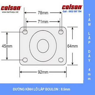 Bảng vẽ kích thước tấm lắp bánh xe đẩy có khóa Nylon chịu tải 82kg | S2-3056-255C-B4W www.banhxepu.net