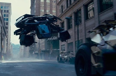 A Still from The Dark Knight Rises, CGI and VFX, Batman Flies in his new vehicle, The Dark Knight Rises, Directed by Christopher Nolan