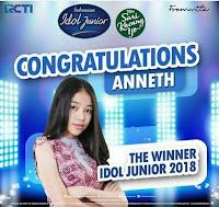 Foto Terbaru Anneth Indonesian Idol Junior 2018