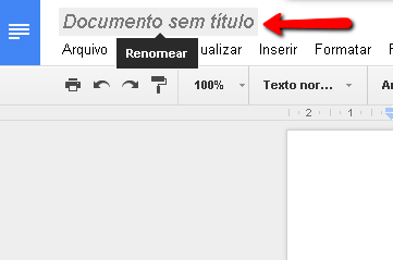 Renomear documento de texto do Google