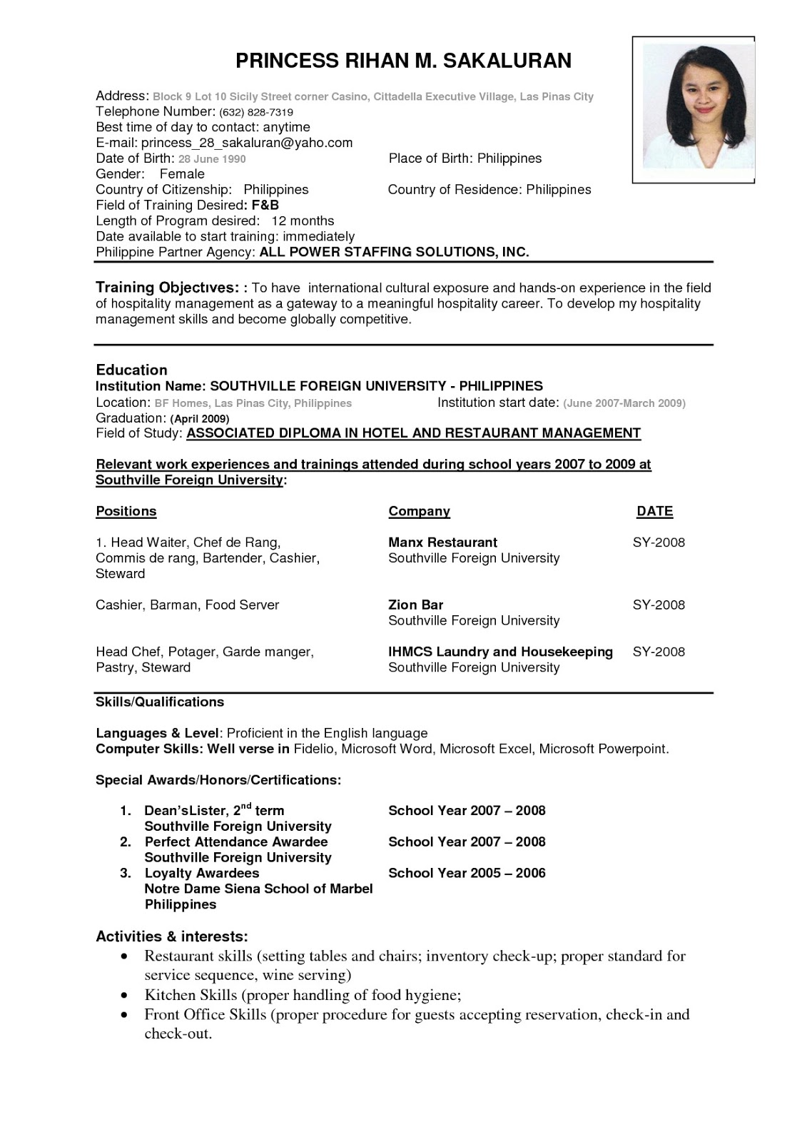 Perfect Resume Example Pdf free sample resume template