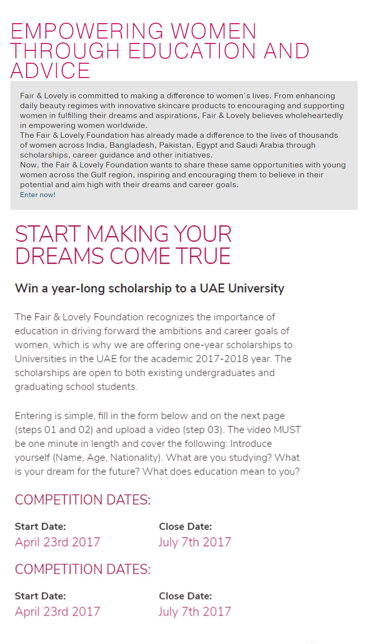 fair and lovely foundation scholarship for UAE and international students Available undergraduates and graduates school students