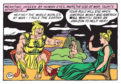 Wonder Woman (1942) #1 Page 10 Panel 7: Ares suggests he rules because the whole world is at war (WWII), but Aphrodite stakes her faith on America as the bastion of liberty and justice (plus she's sending an Amazon to help America to win the war).