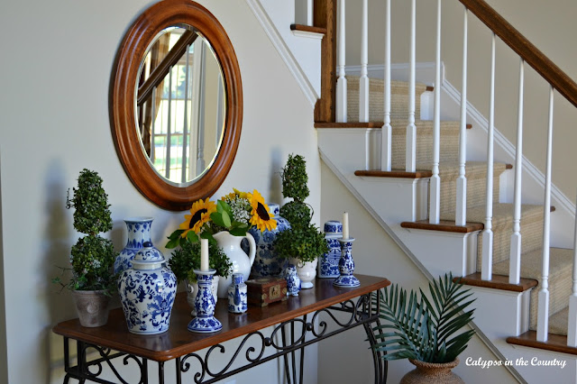Blue and White in the Foyer and other ways I have decorated with blue and white in my home.