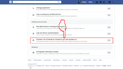 Facebook-choose friends to contact