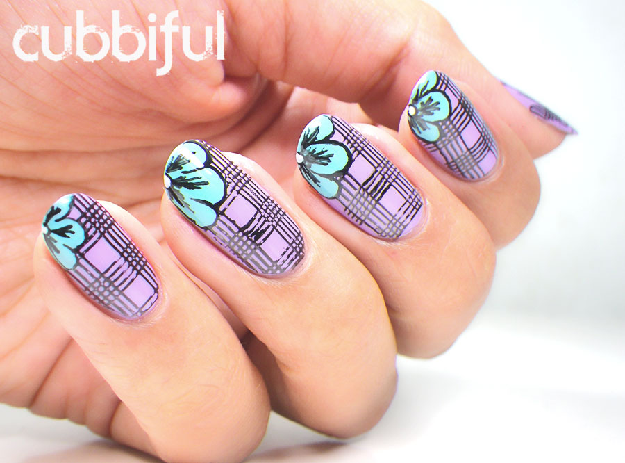 Flowers Over Stamping Plaid Nails