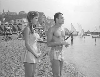 A 15-year-old Mori on the beach at Vietri-sul-Mare with co-star Mario Girotti during her movie debut in 1959