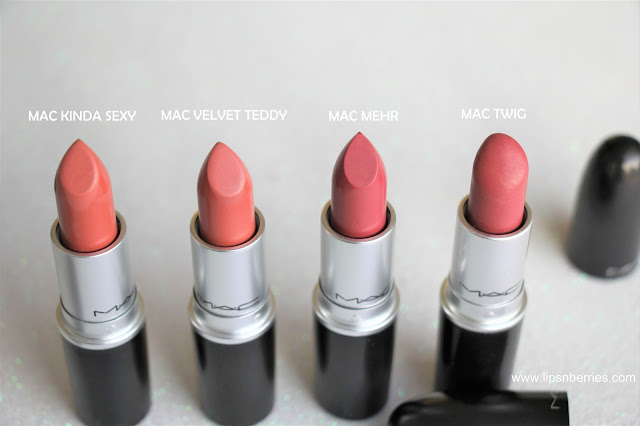 Best nude lipsticks MAC kinda sexy velvet teddy mehr twig