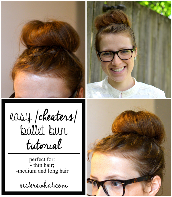 easy cheater ballet bun tutorial for thin hair