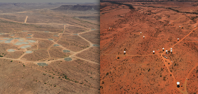 Aerial photographs of MeerKAT antenna foundations and road network in South Africa (left, credit: SKA SA) and ASKAP antennas and road network in Australia (right, credit: CSIRO), part of the infrastructure at the sites leading up to the SKA.
