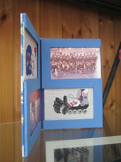 portafotos, hockey, patines, punto cruz, cartonnage, point croix, cross stitch